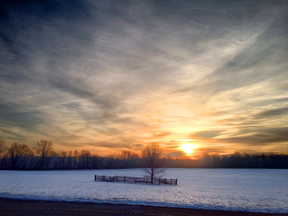 Sunrise, Princeton, Battlefield Park, Winter, Snow