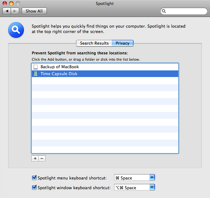 Throwing a Spotlight on Time Machine backups excluding time capsule disk and backup of macbook
