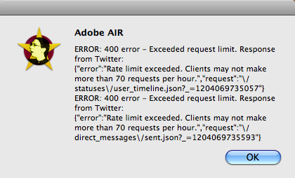 Adobe AIR and twitter, spaz, twhirl, amd tweetr, spaz error