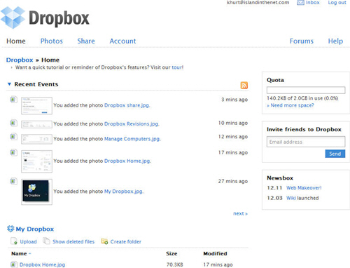 Dropbox and iDisk dropbox home