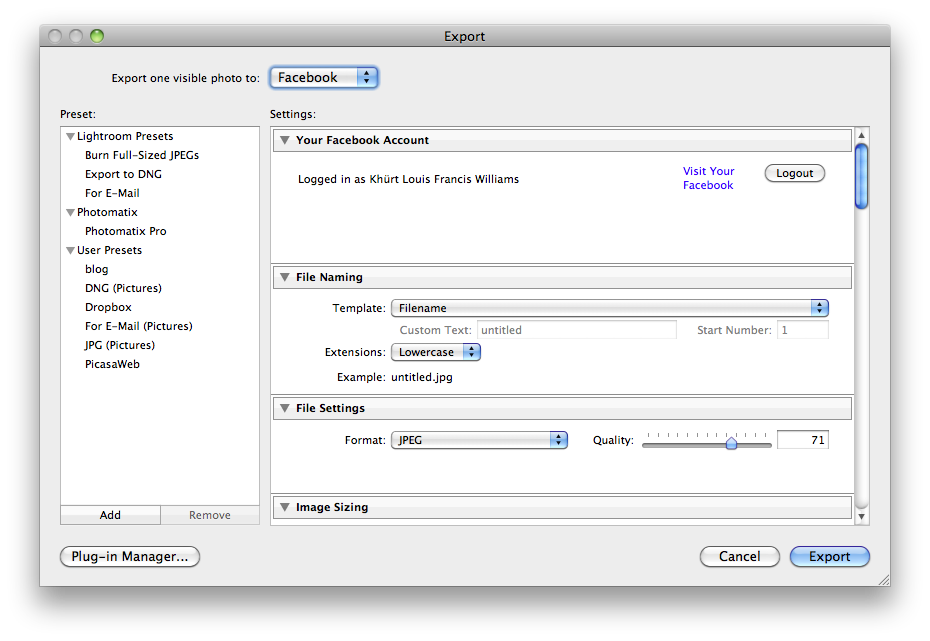 How to export to flickr and Facebook using Adobe Photoshop Lightroom 3 Screen shot 2010 03 22 at 6.51.34 PM