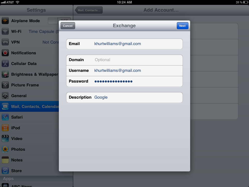 How to sync your iPad Mail, Calendar, & Contacts with Google Sync, Google Sync 1
