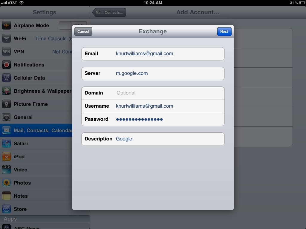 How to sync your iPad Mail, Calendar, & Contacts with Google Sync, Google Sync 2