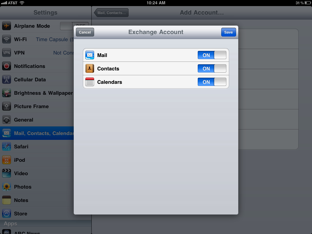 How to sync your iPad Mail, Calendar, & Contacts with Google Sync, Google Sync 3