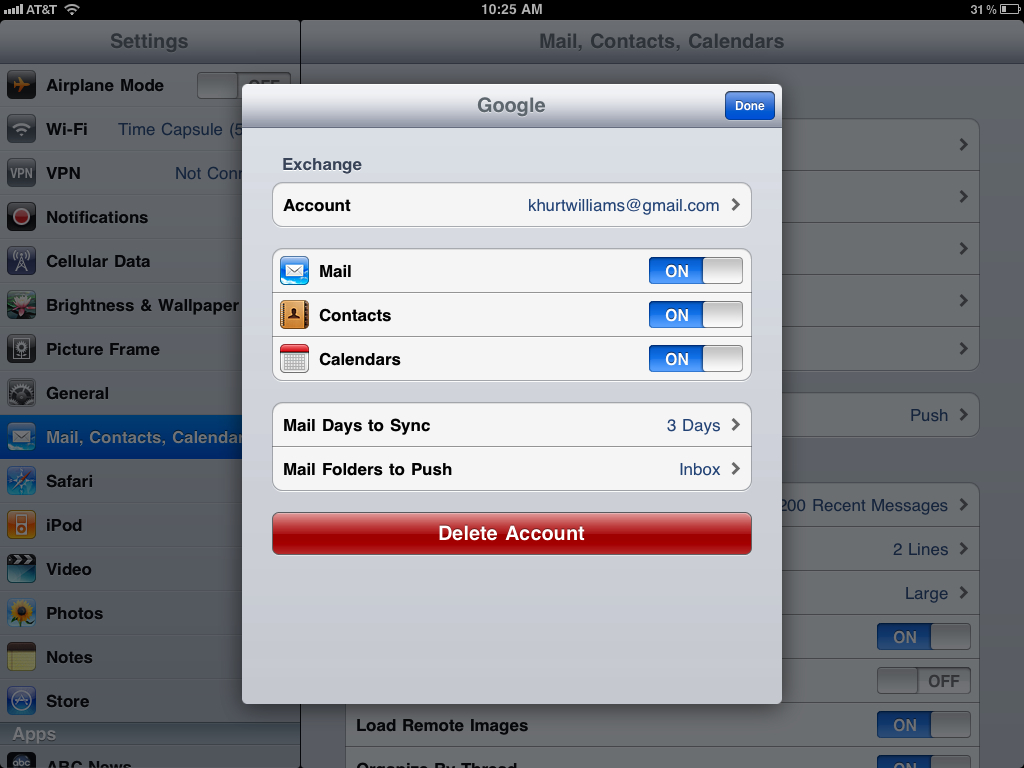 How to sync your iPad Mail, Calendar, & Contacts with Google Sync, Google Sync 4