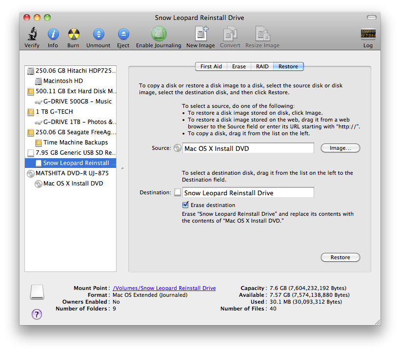 How to create an OS X Snow Leopard Installation on a Flash Drive, Screen shot 2011 02 17 at 5.32.37 PM