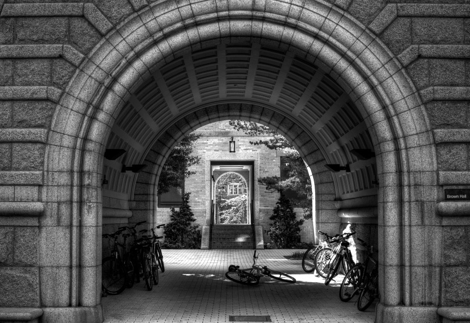 archway, bicycle, path
