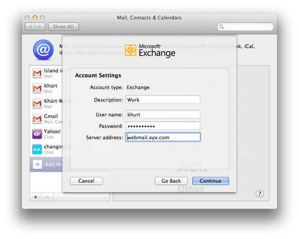 How to setup Mail, Contacts and Calendar on OS X Lion to use an Exchange 2007 account Screen Shot 2011 09 03 at 1.36.58 PM