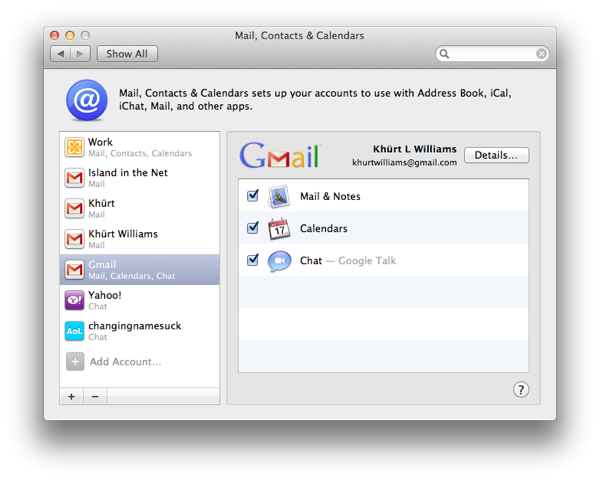 Setup Mail, Address Book and iCal to use Gmail, Google Calendar and Contacts on OS X Lion Screen Shot 2011 09 03 at 10.16.05 AM