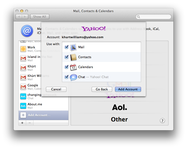 Sync Yahoo Contacts, Calendar, and Mail to your Mac Screen Shot 2011 10 15 at 8.21.15 AM