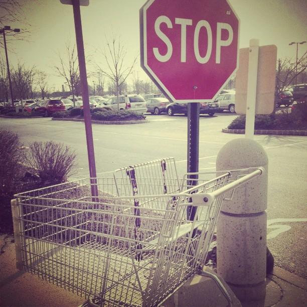 Nassau Park Pavilion on Jan 08, 2013 @ 13:01, Stop shopping woodcamera sign cart