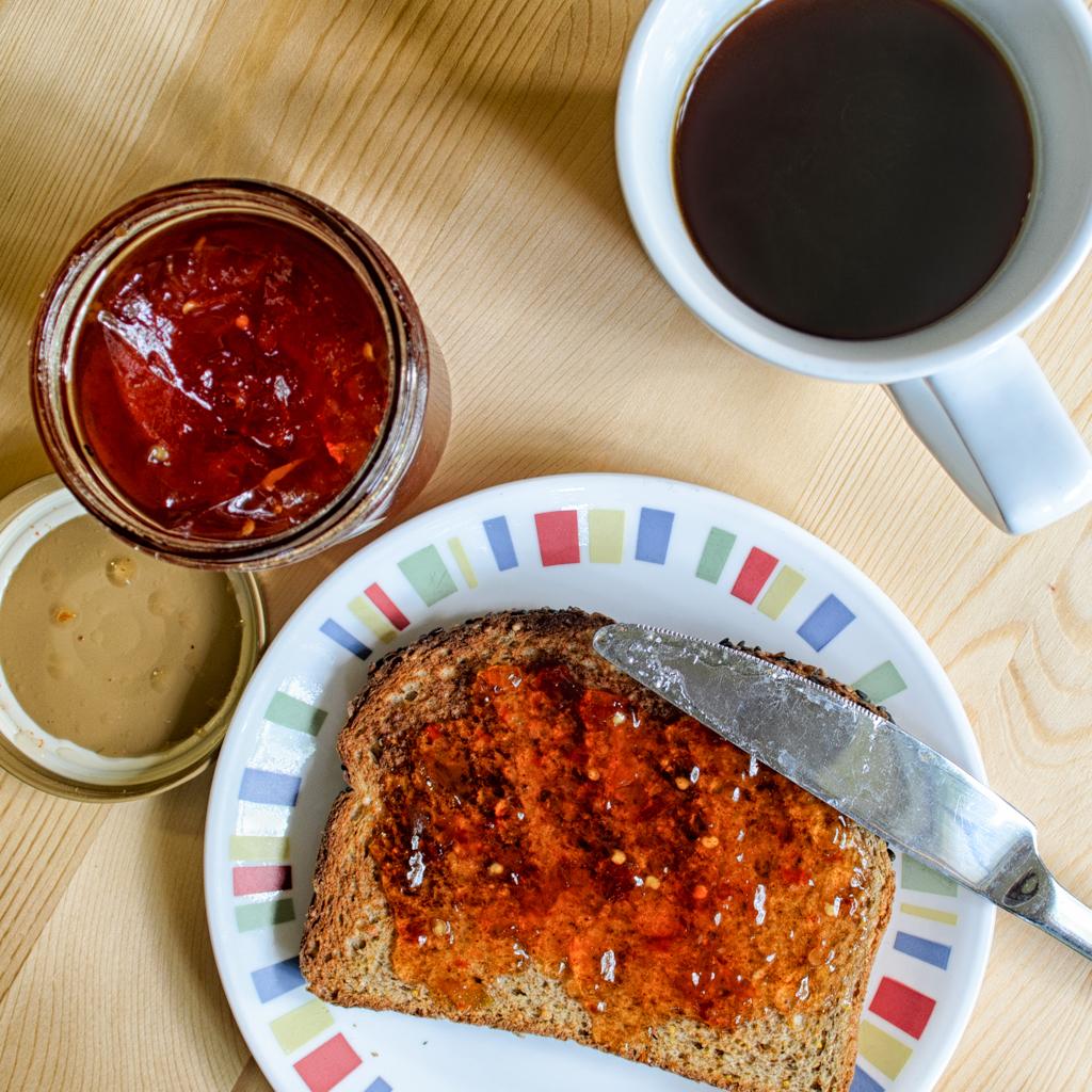 Habanero pepper jelly on whole wheat toast