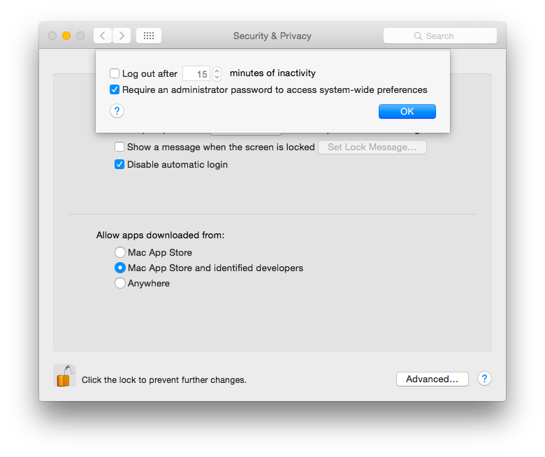 OSX, Privacy, Security, Preferences