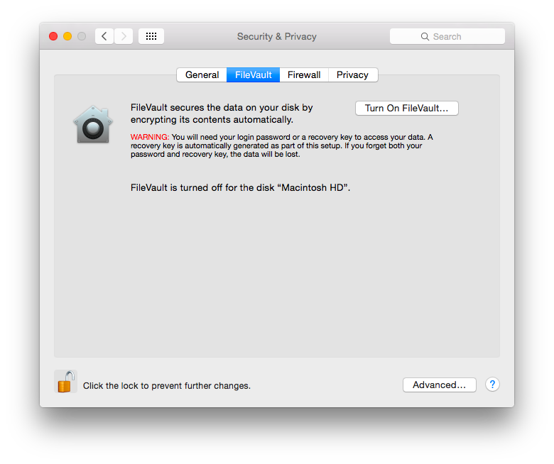 OSX, Privacy, Security, Preferences, Screenshot
