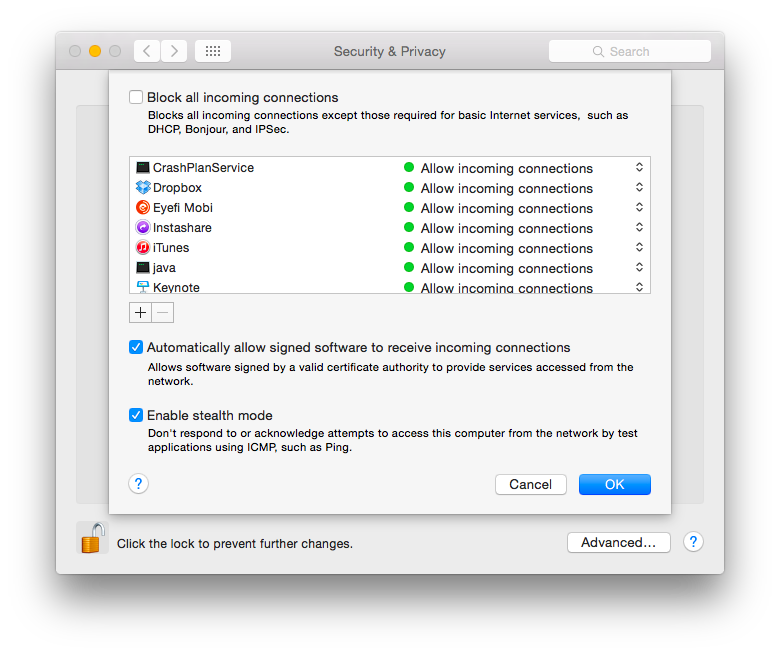 How To Setup System Security & Privacy Settings In OS X screen shot of os x firewall settings
