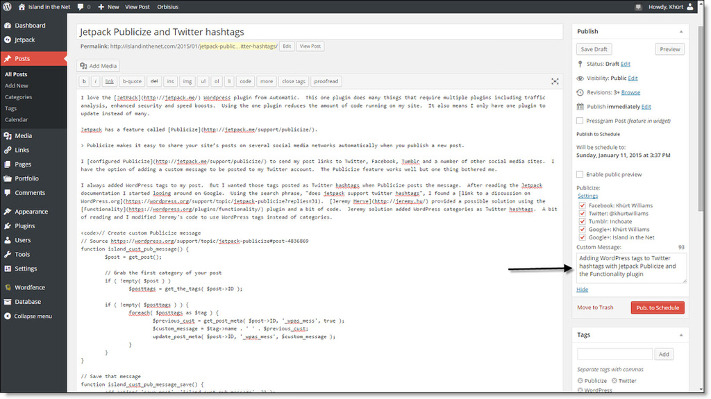 Jetpack Publicize and Twitter Hashtags publicize custom message