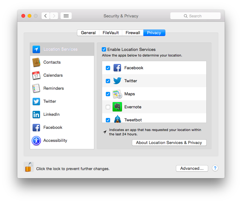 screen shot of privacy tab in security privacy section of system preferences