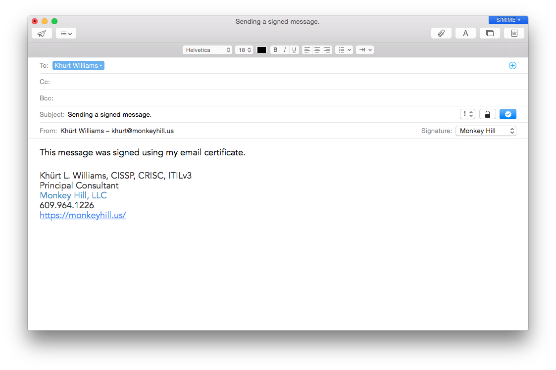 screen shot of new signed email