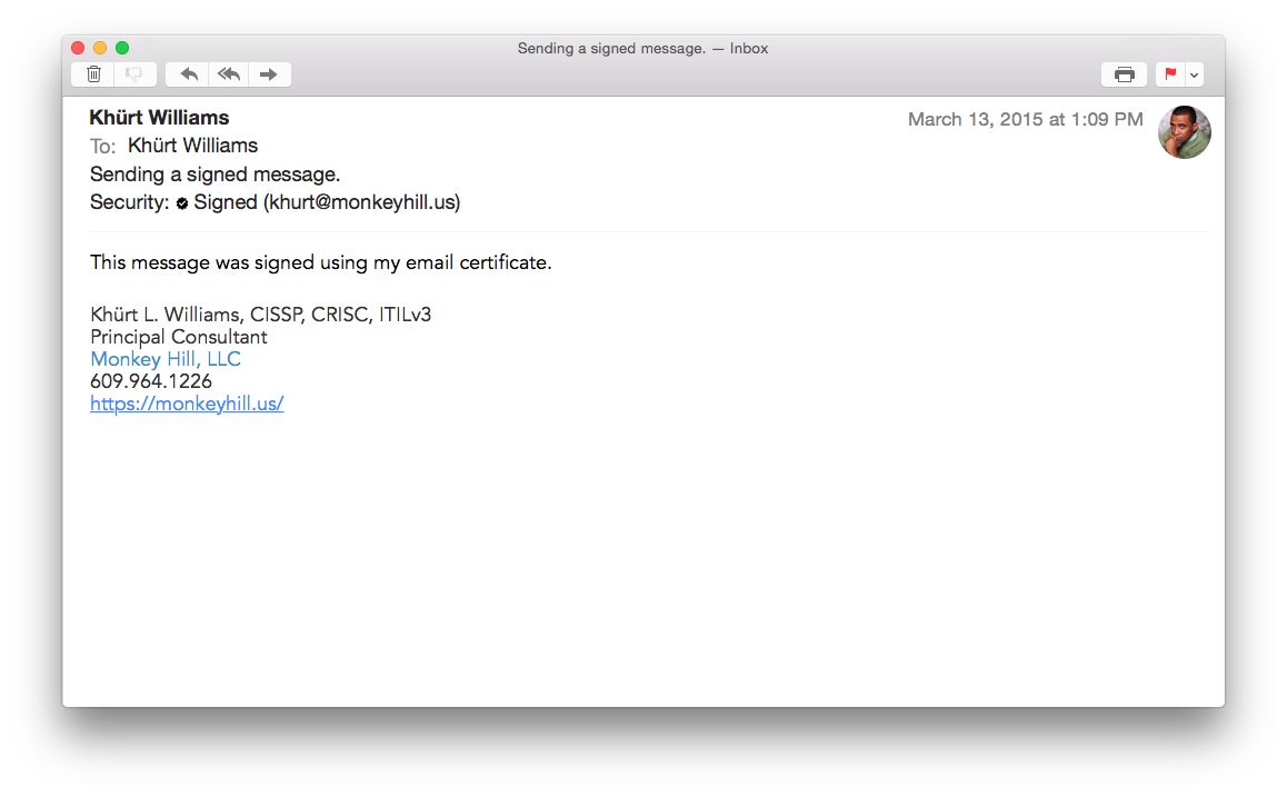 screen shot of signed email