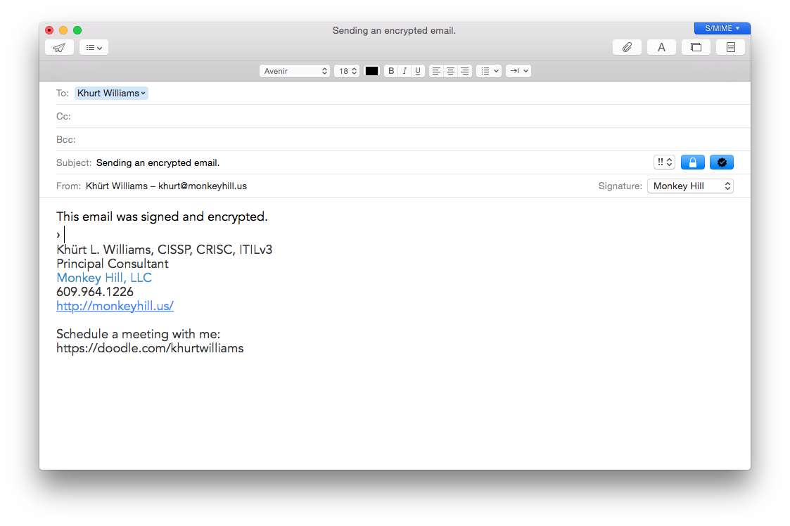 screen shot of new encrypted email