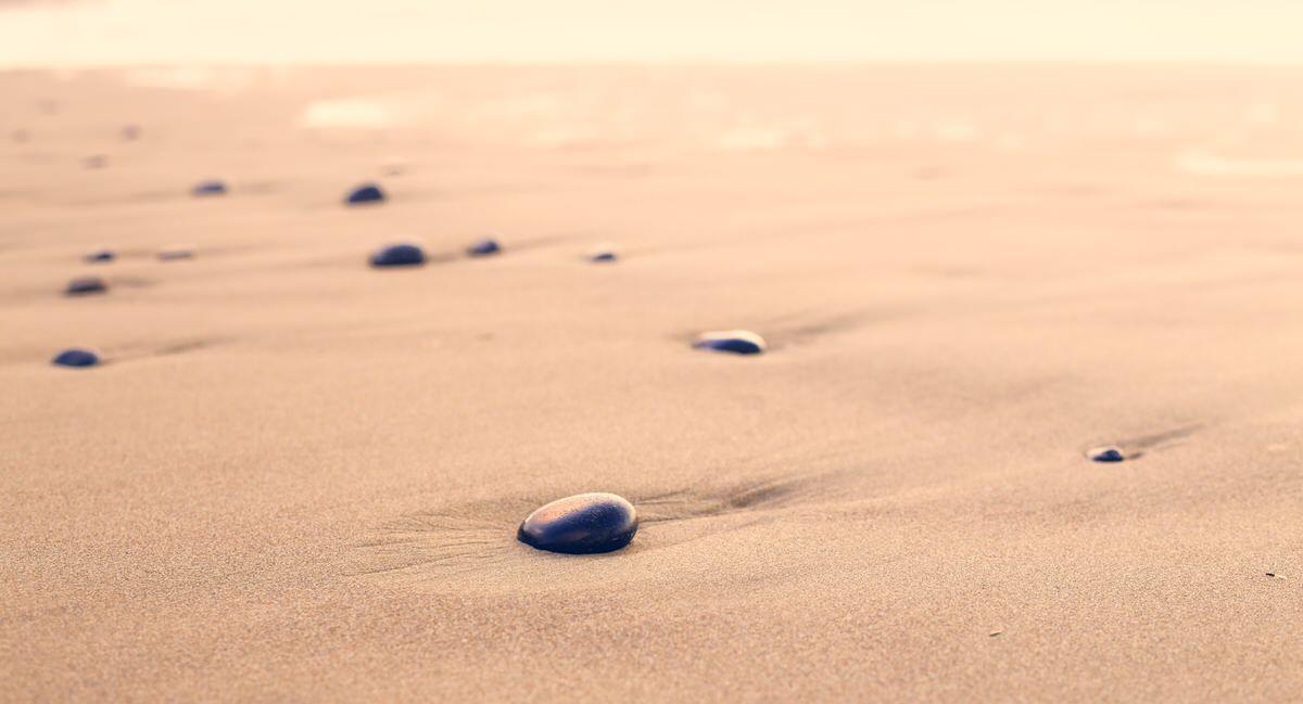 pebble, beach, sand