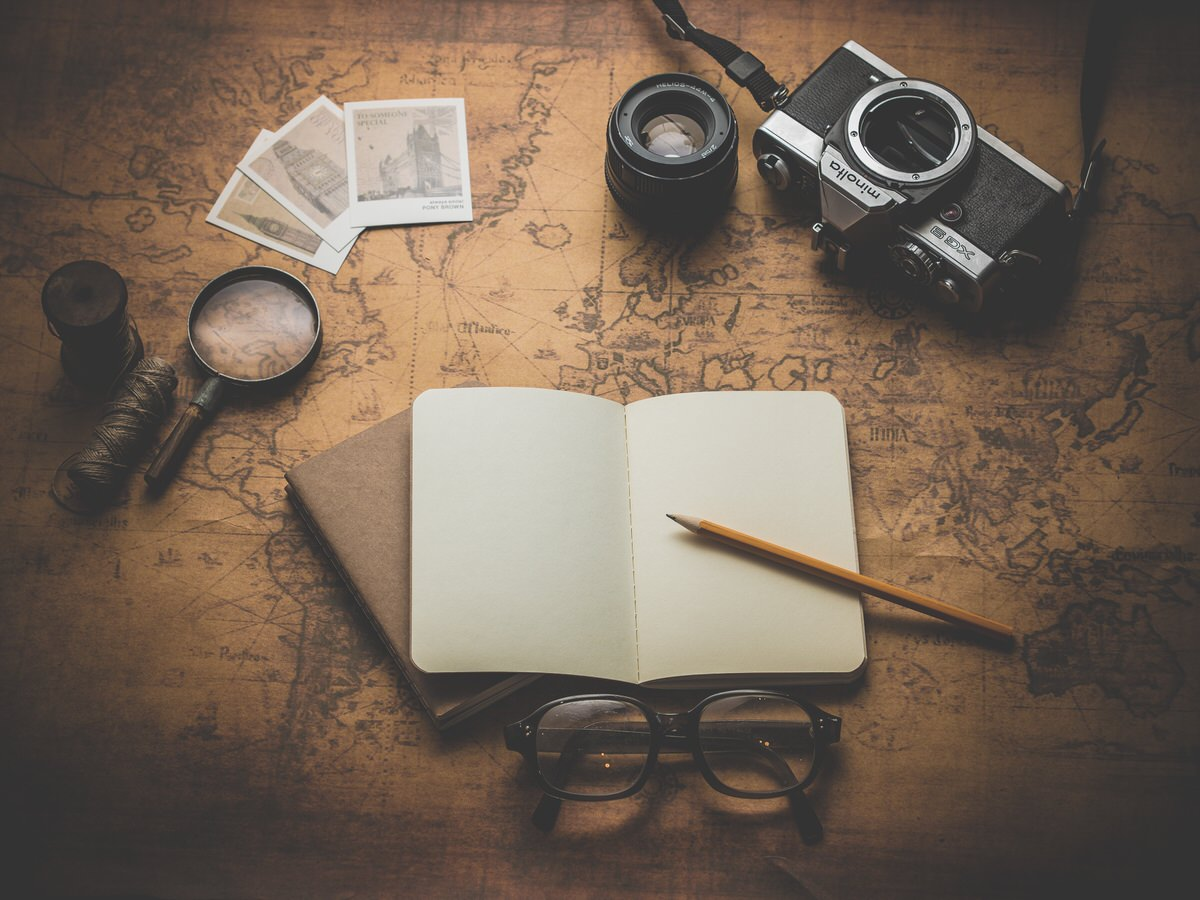 pencil, camera, notebook, glasses,unsplash, reading, notes, adventure, planning, trip