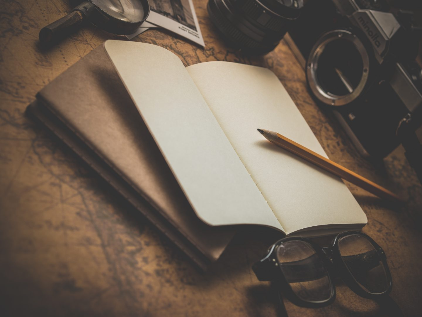 unsplash, notepad, pencil, camera, adventure, planning, trip