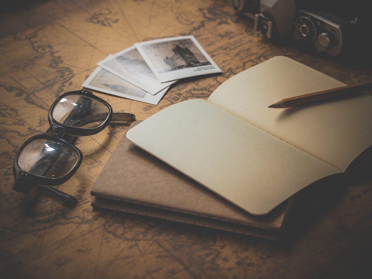 pencil, camera, notebook, glasses,unsplash