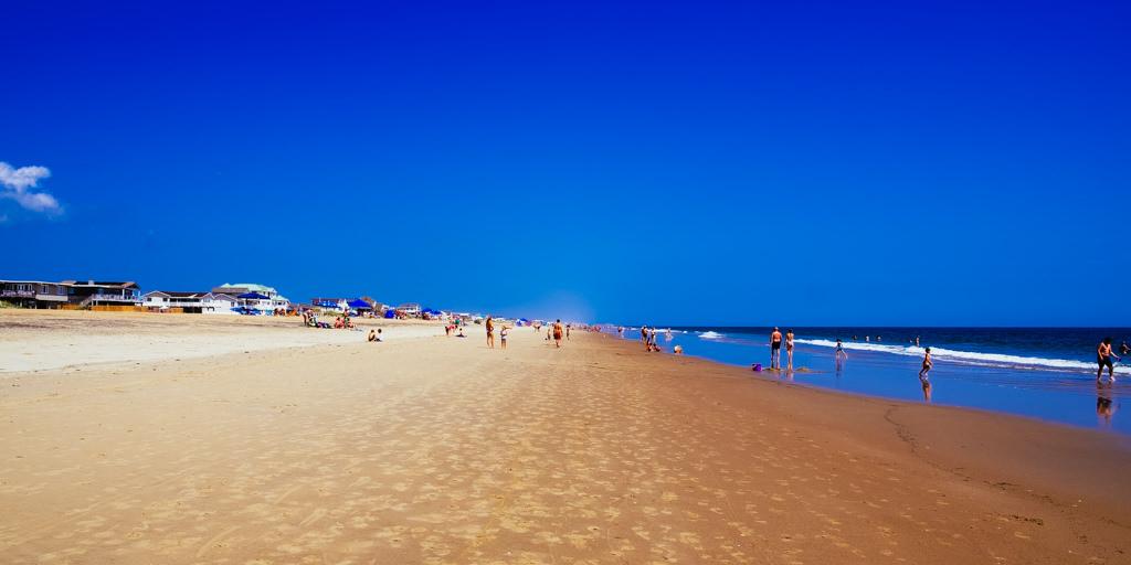 beach, sky, blue, sand, people, families, vista, image, creative commons
