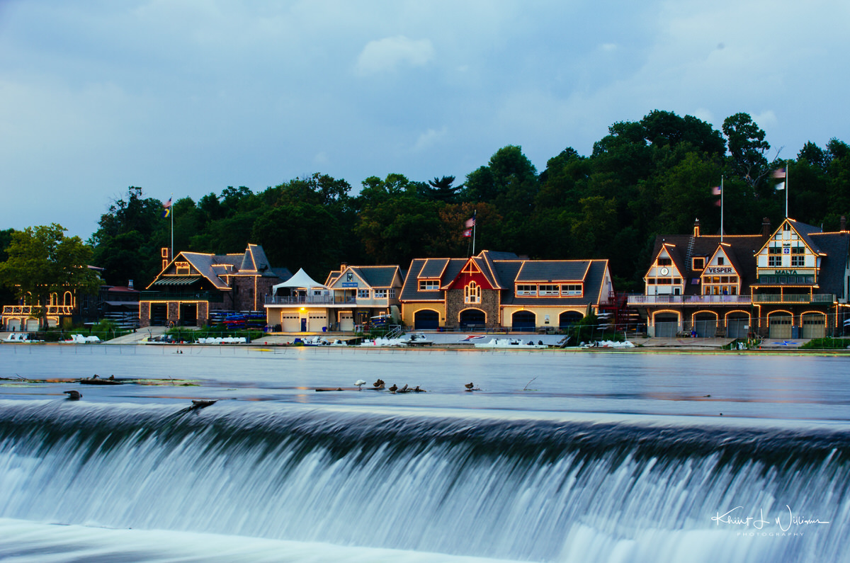Philadelphia's Boathouse Row at Night