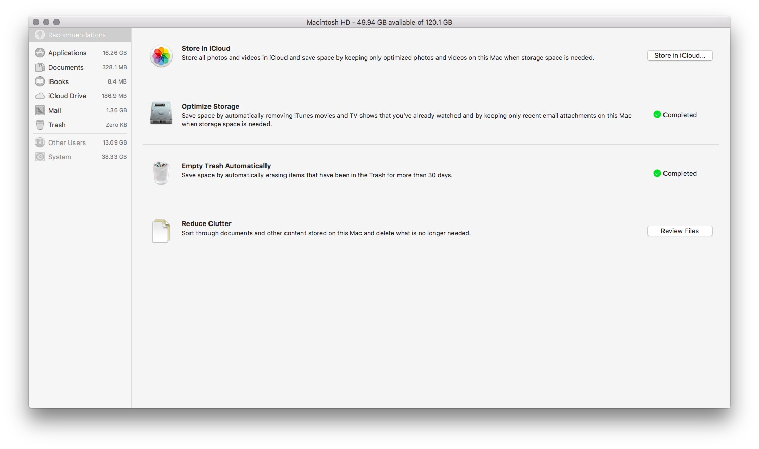 macOS Sierra Optimised Storage at 6.28.59 AM