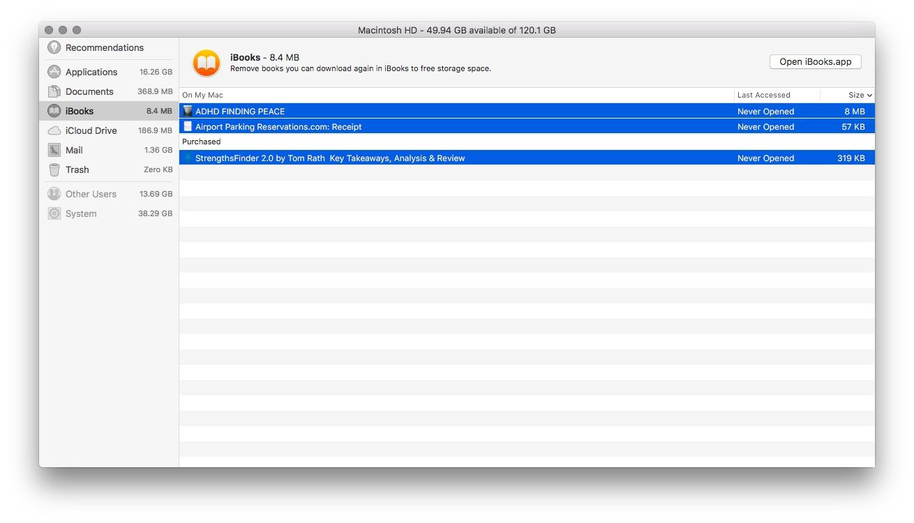 macOS Sierra Optimised Storage at 6.30.05 AM