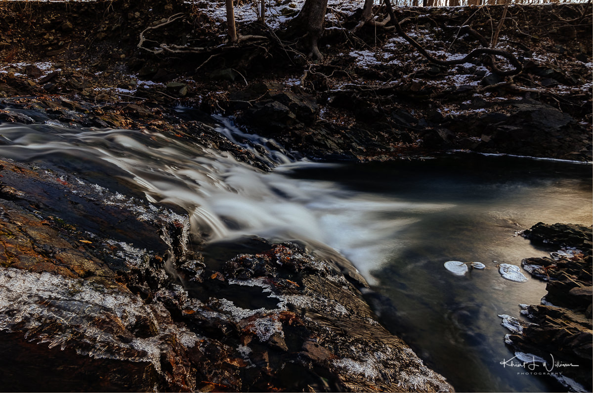 brook, water, snow, ice, trees, winter, rocks