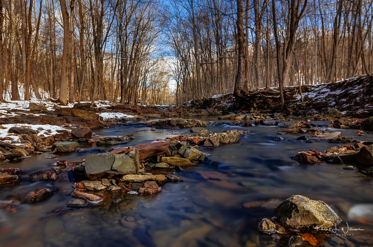 Rock Brook, brook, water, snow, ice, trees, winter, rocks