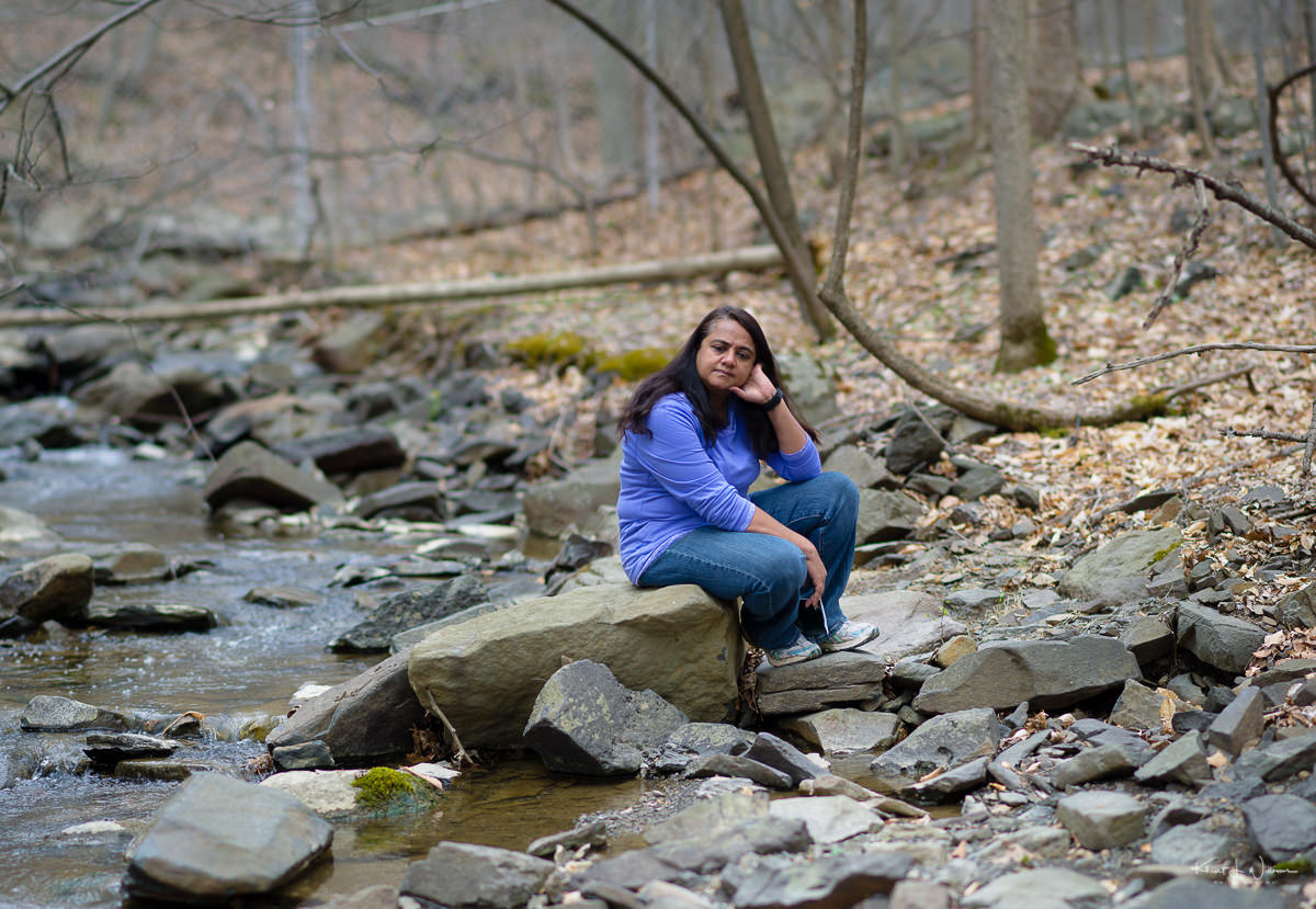 Bhavna, Rocks, water, sitting, woods, woman, sourland mountain