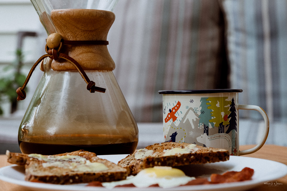 Bacon, Egg, Toast, Coffee, Mug, Plate, Chemex