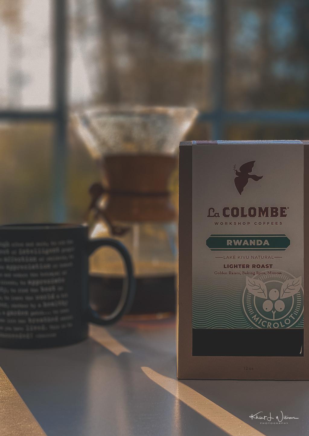 LaColombe Workshop Coffees Rwanda Coffee, Coffee Mug, Chemex Carafe, Table, Window