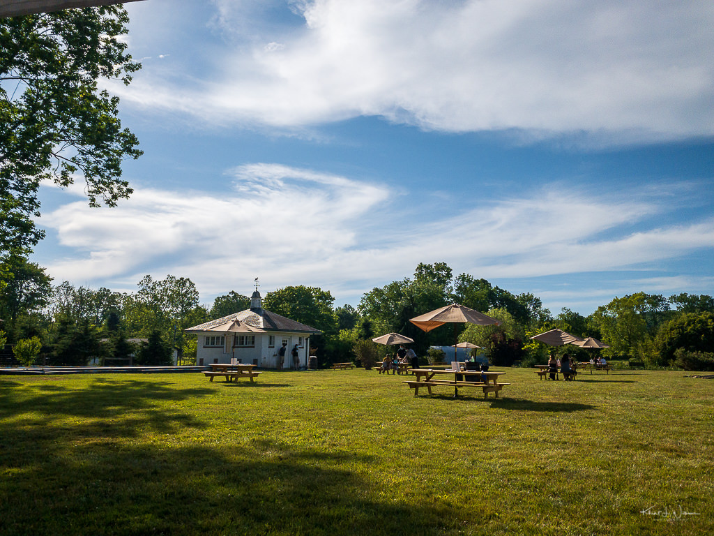 Brick Farm Tavern lawn with picnic tables