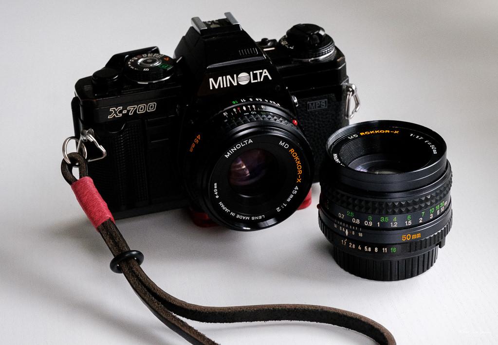 Minolta X-700 camera and MD Rokkor-X 45mm f/2 and MD Rokkor-X 50mm f/1.7 lenses.