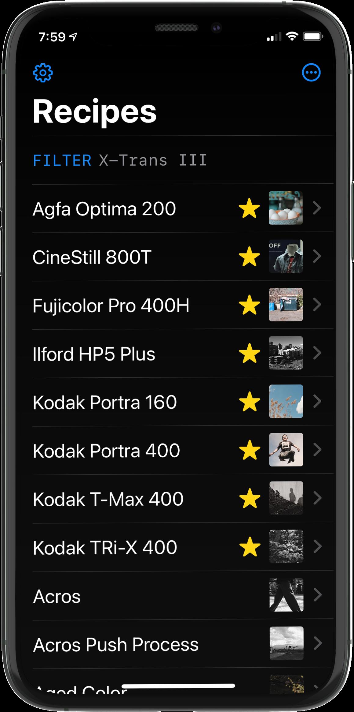 Film Recipes Main Screen Screenshot