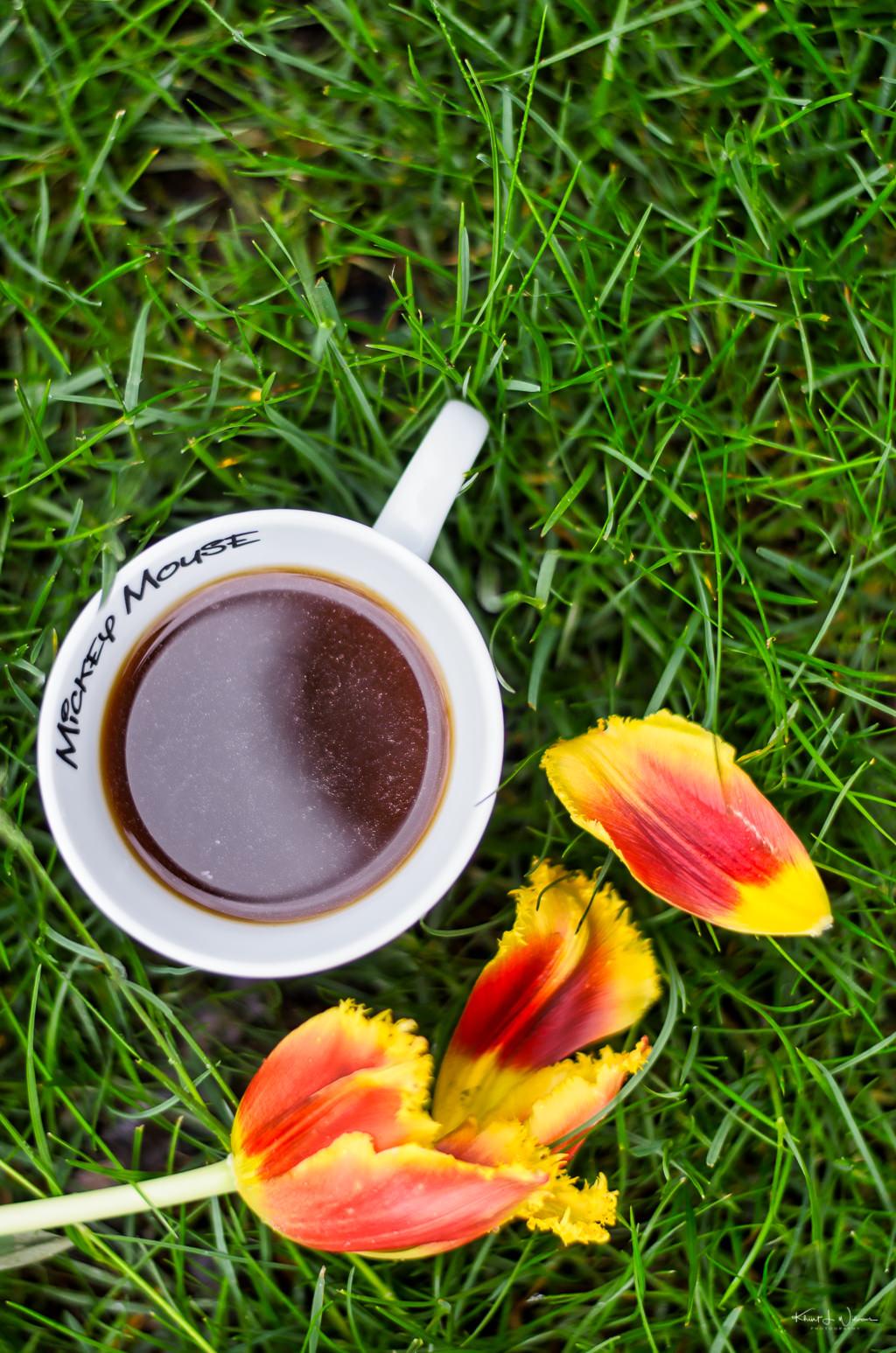 coffee mug in grass