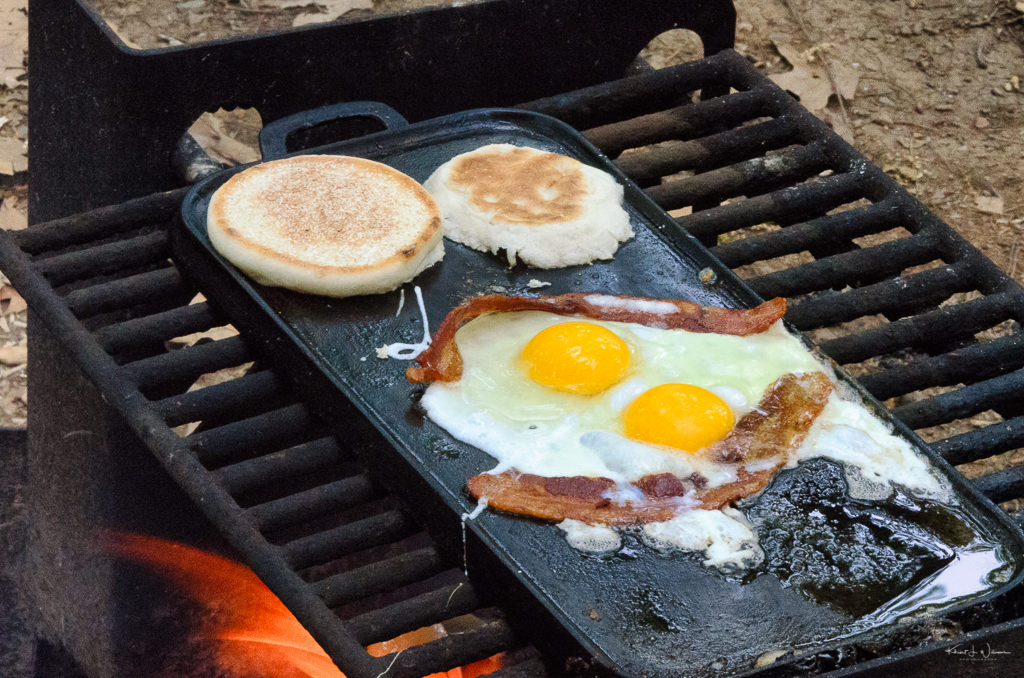 eggs and bacon on grill