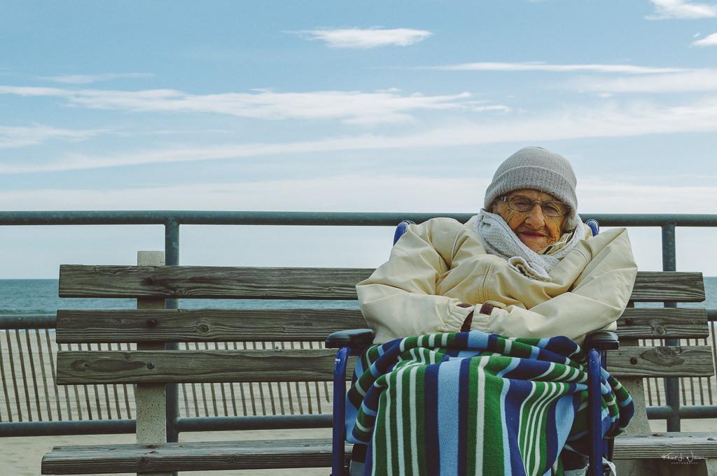 elderly woman on bench