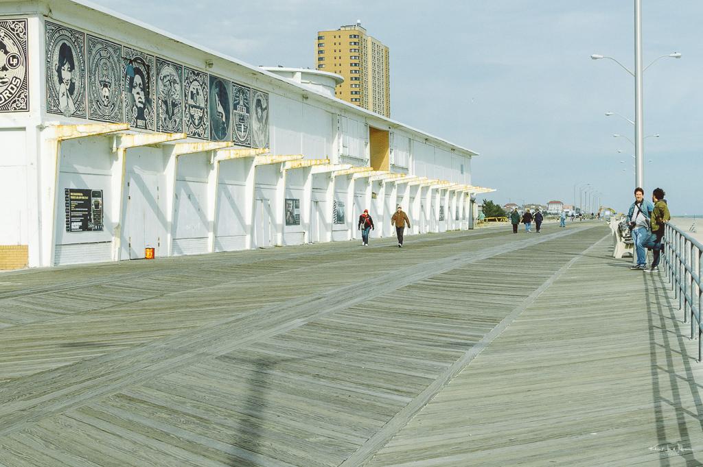 people walking on boardwalk, Asbury Park, New Jersey