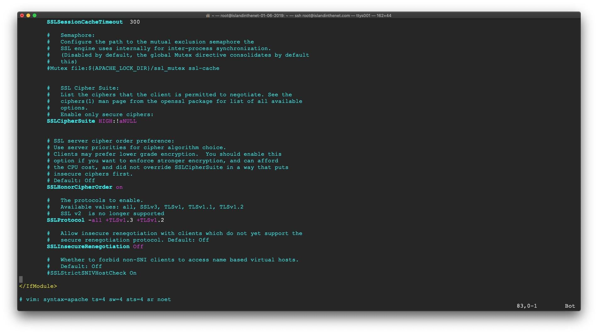 screen shot of ssl.conf