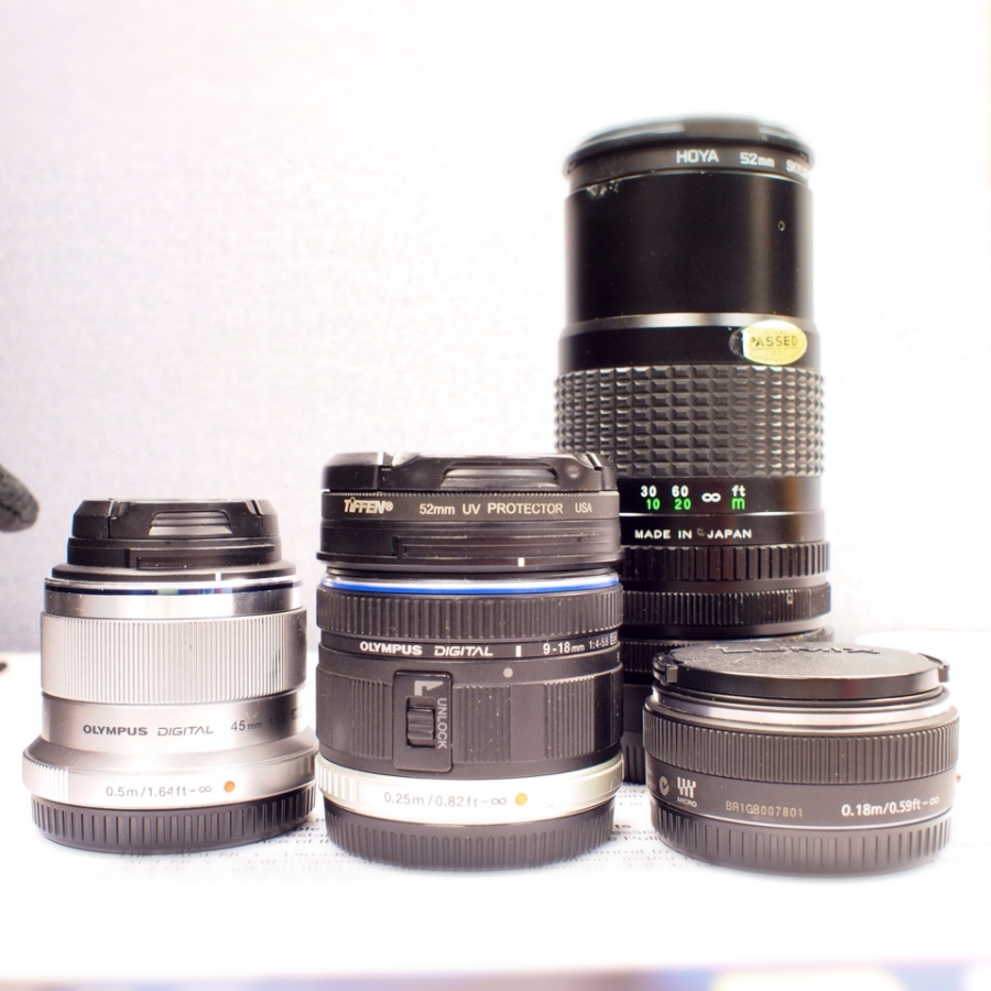 An assortment of lenses. %name